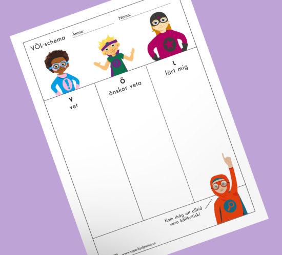 völ-schema med illustrationer av superhjälparna, veta, önska lära och lärt mig