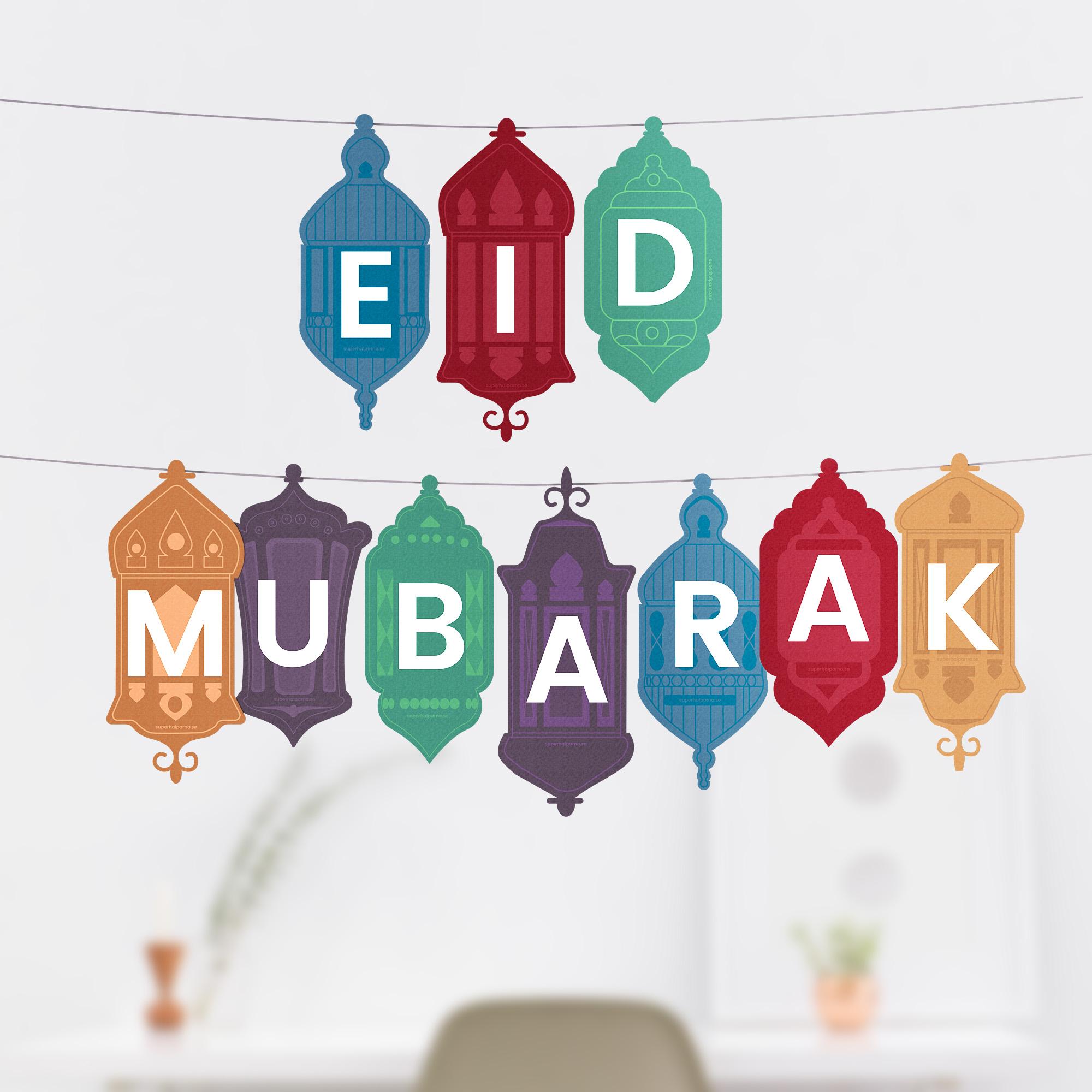 eid mubarak dekoration  pdf 5 x a4  superhjälparna